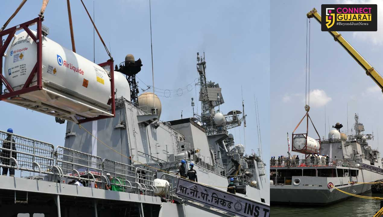 Indian Naval ship Trikand arrives at Mumbai as part of operation Samudra Setu 2