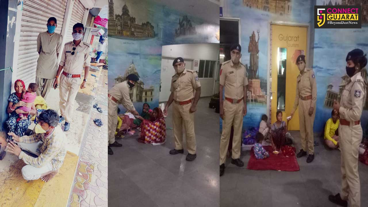 Vadodara police She team help a family became homeless after cyclone effect in city