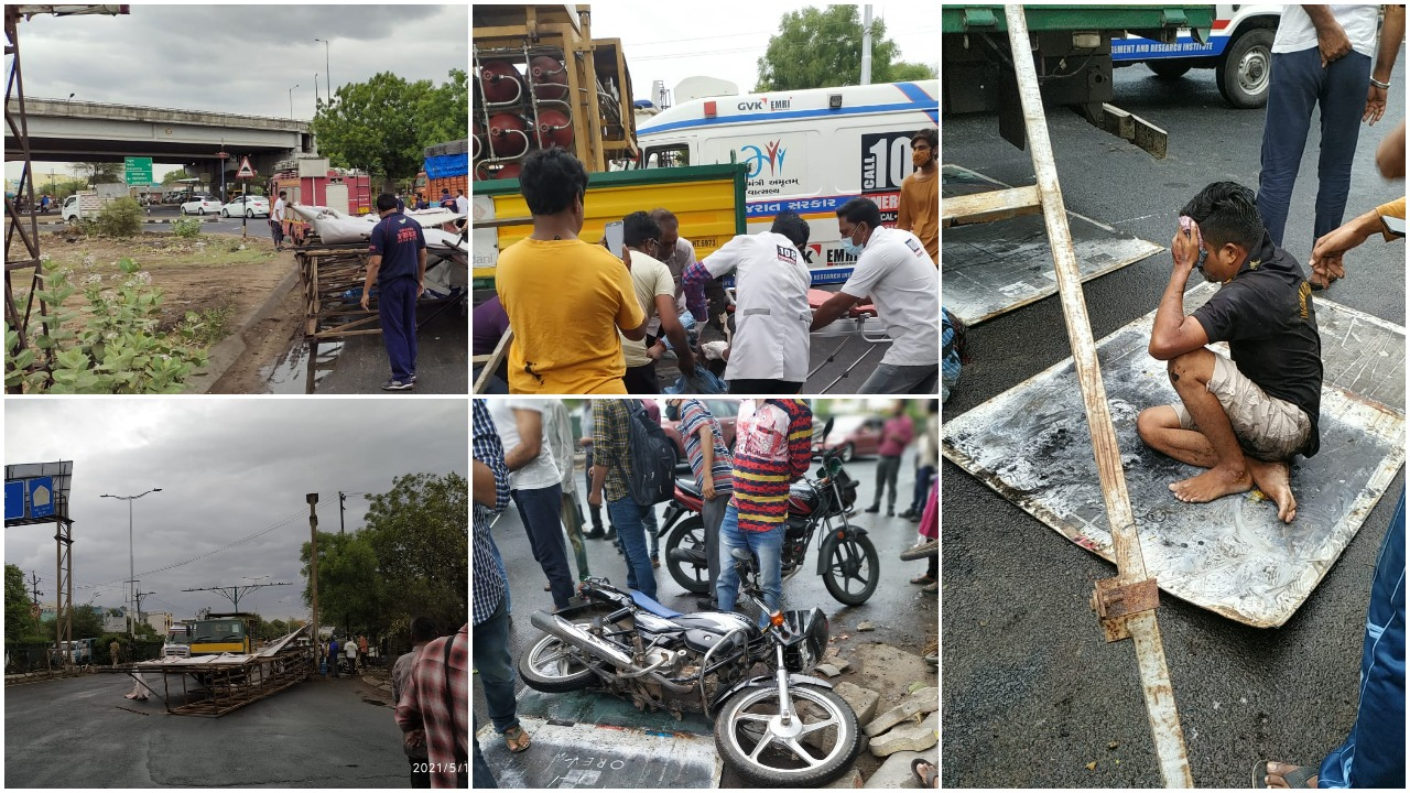 Father son injured after hoarding fell on them in Vadodara